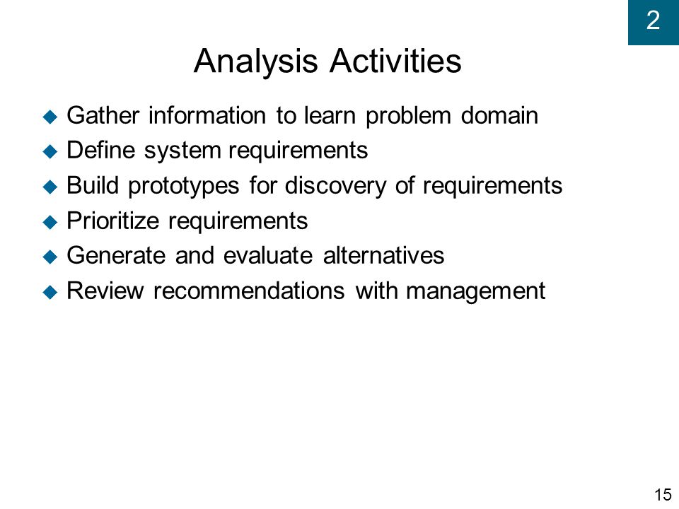 Analysis Activities Gather information to learn problem domain