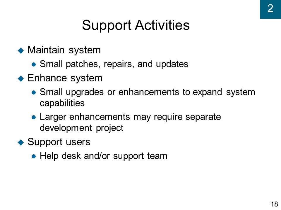 Support Activities Maintain system Enhance system Support users