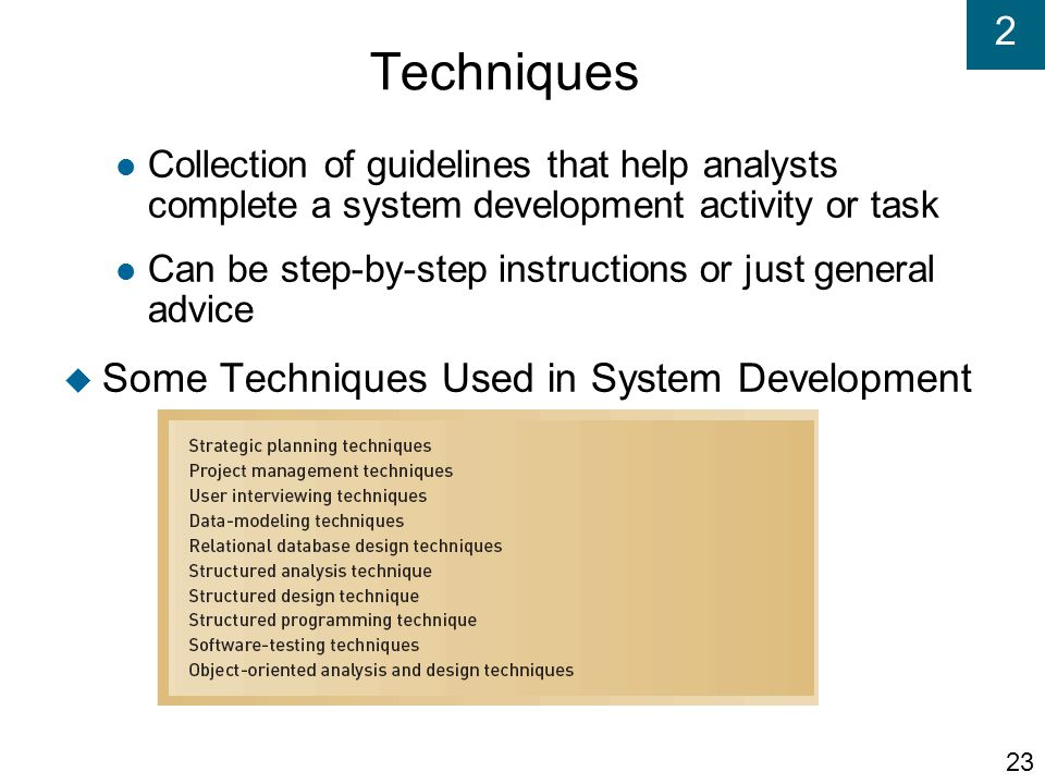 Techniques Some Techniques Used in System Development