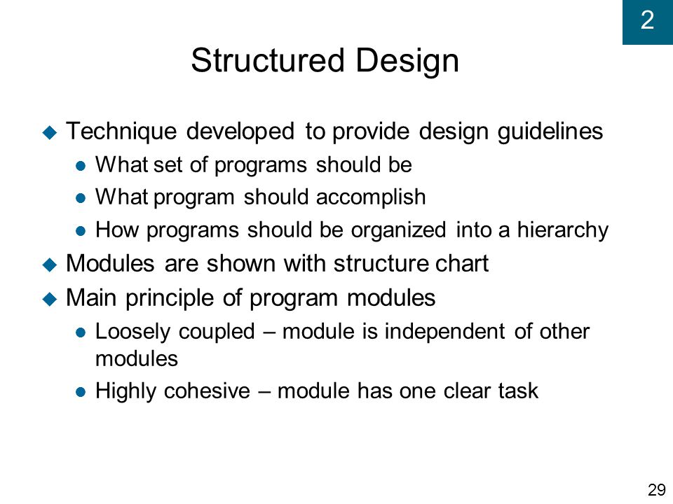 Structured Design Technique developed to provide design guidelines