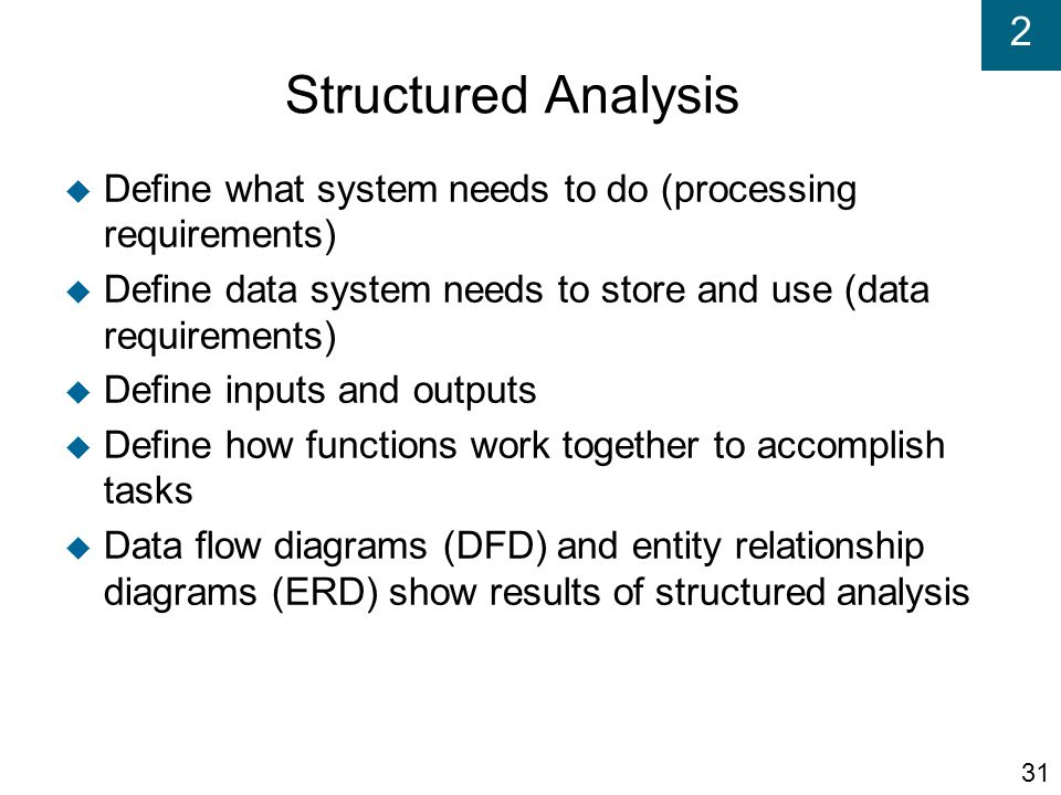 Structured Analysis Define what system needs to do (processing requirements)‏ Define data system needs to store and use (data requirements)‏