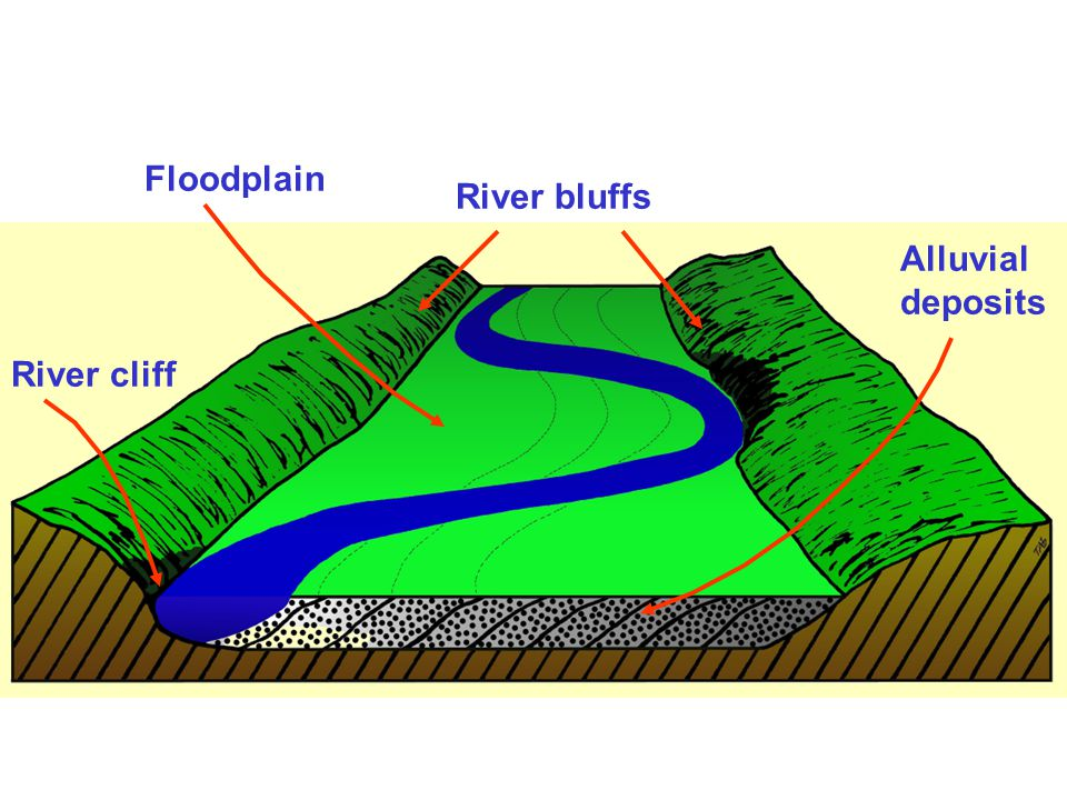 Floodplain River bluffs Alluvial deposits River cliff