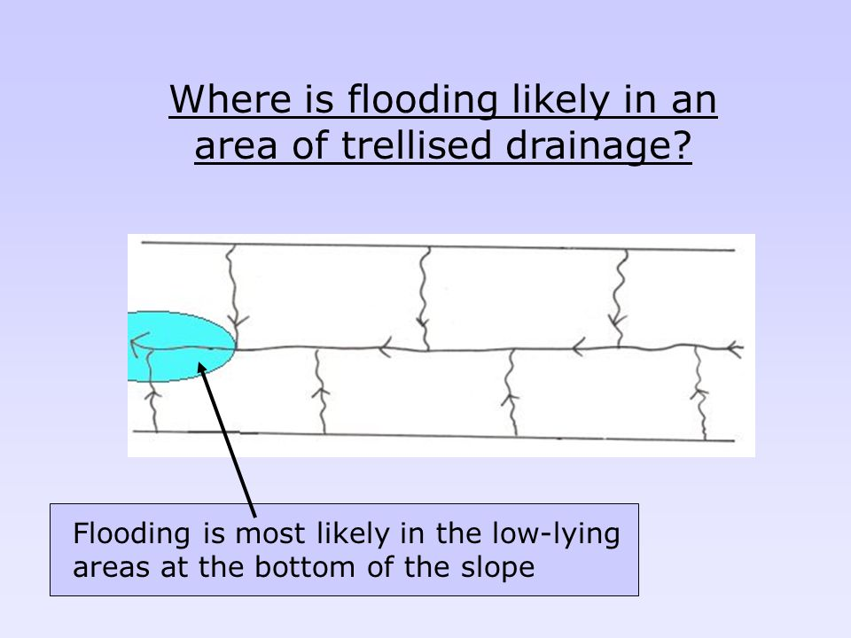 Where is flooding likely in an area of trellised drainage