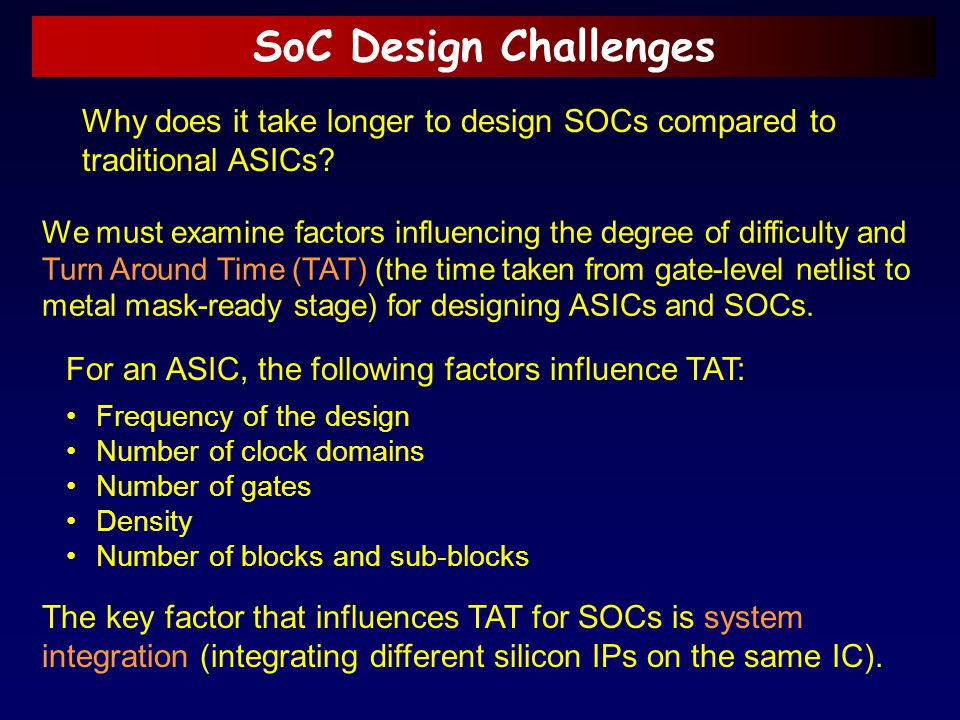 SoC Design Challenges Why does it take longer to design SOCs compared to traditional ASICs