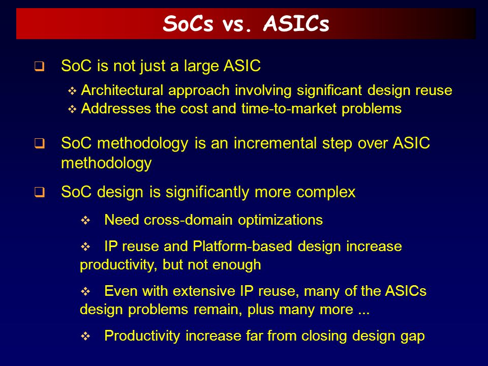 SoCs vs. ASICs SoC is not just a large ASIC