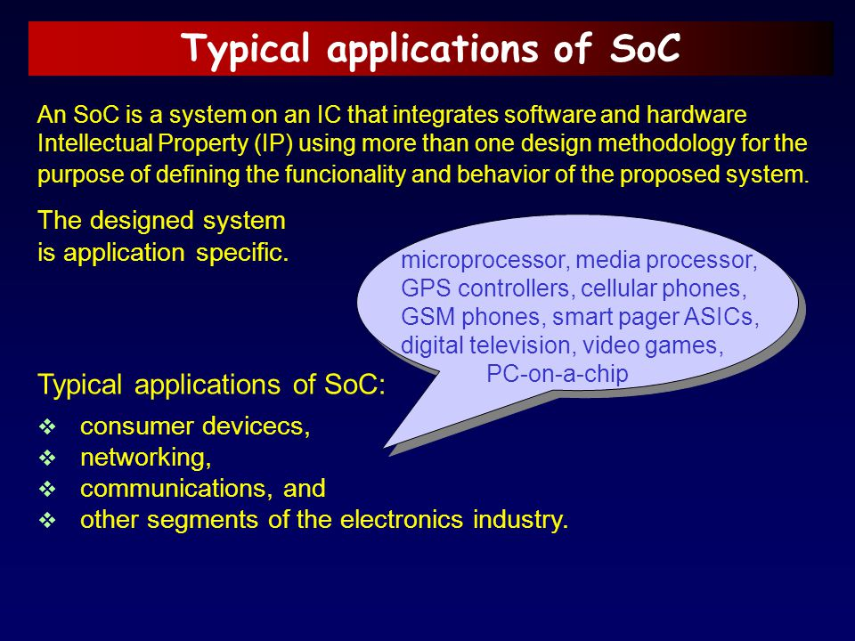 Typical applications of SoC