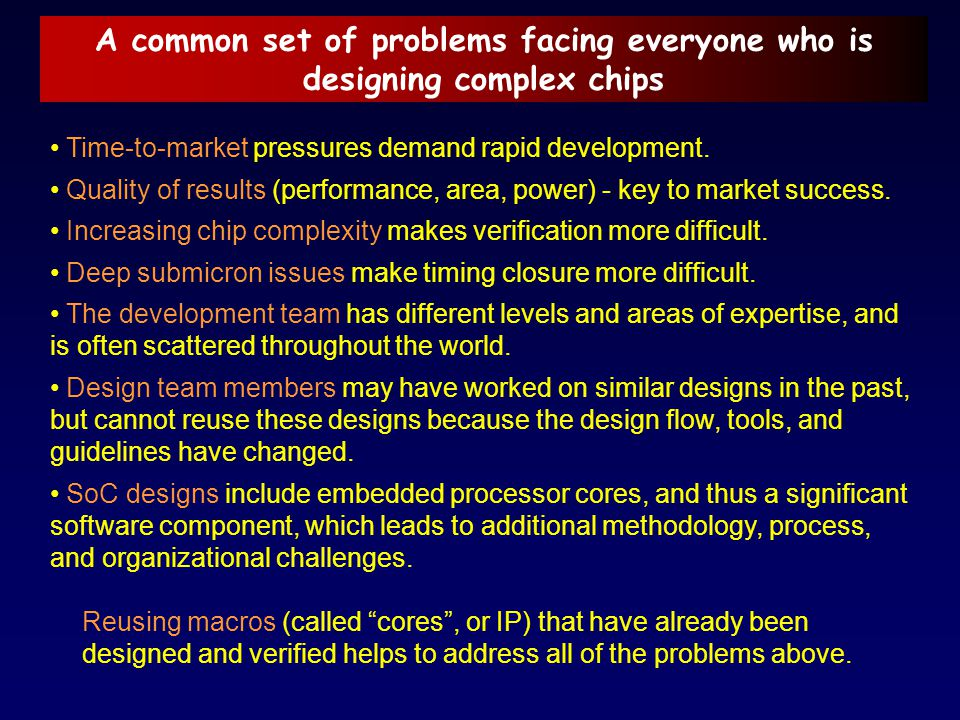 A common set of problems facing everyone who is designing complex chips
