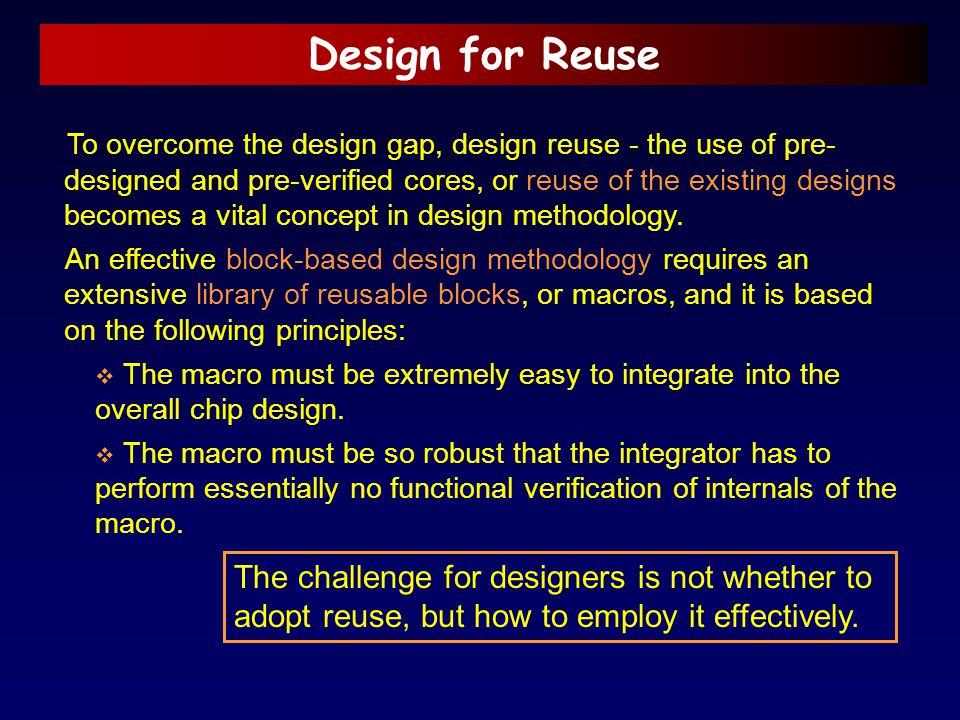 Design for Reuse