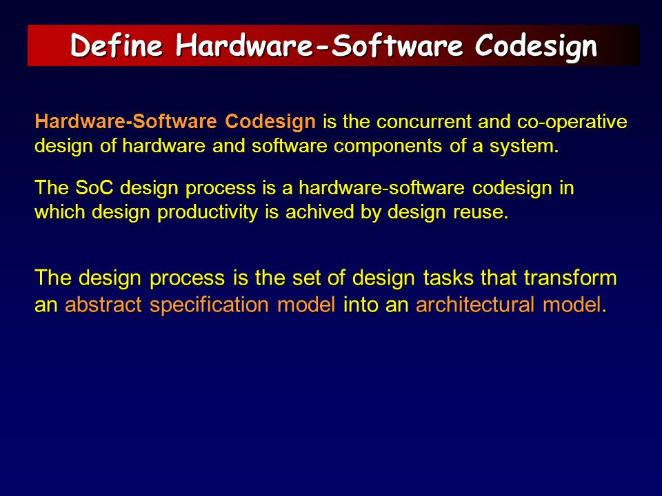 Define Hardware-Software Codesign