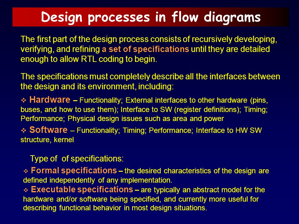 Design processes in flow diagrams