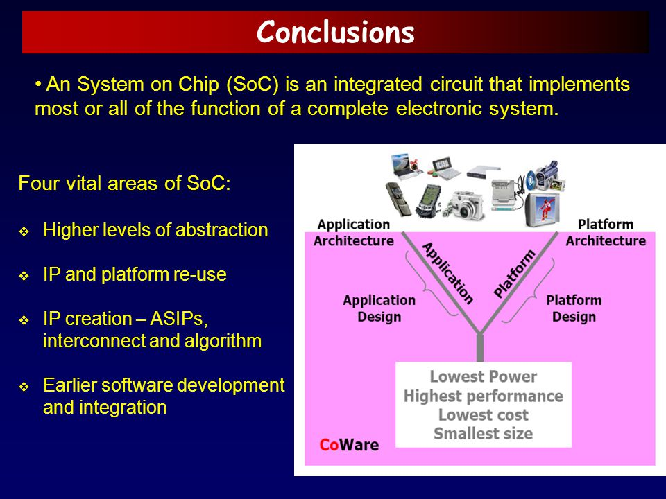 Conclusions An System on Chip (SoC) is an integrated circuit that implements most or all of the function of a complete electronic system.