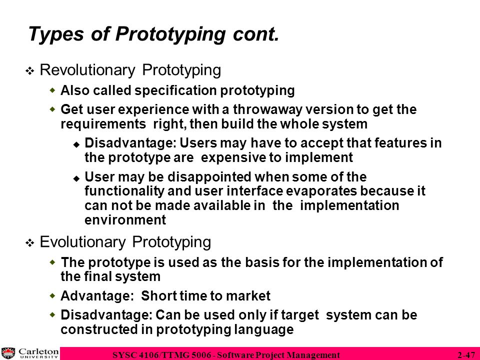 Types of Prototyping cont.