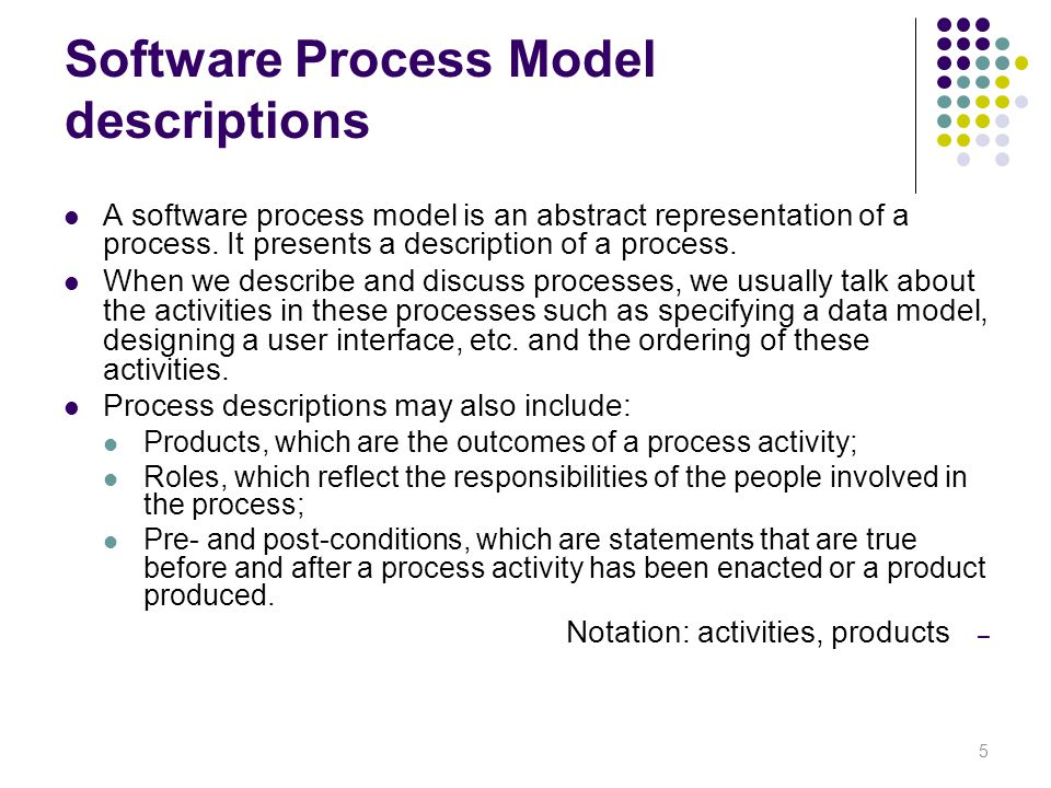 Software Process Model descriptions