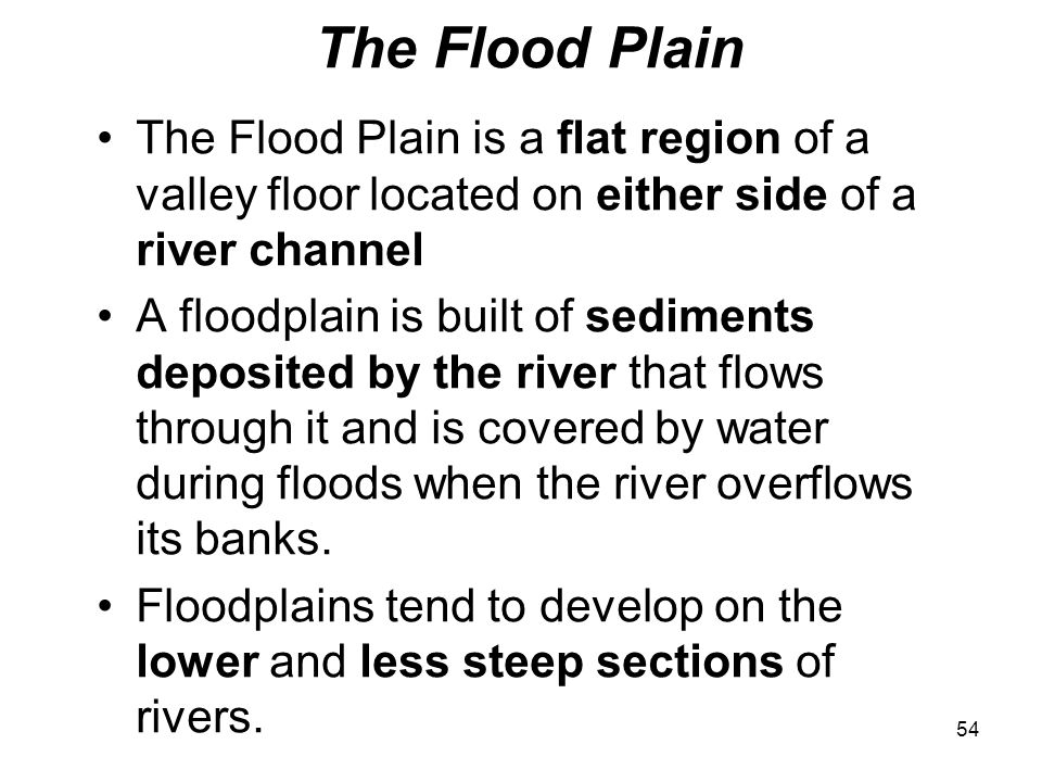 The Flood Plain The Flood Plain is a flat region of a valley floor located on either side of a river channel.