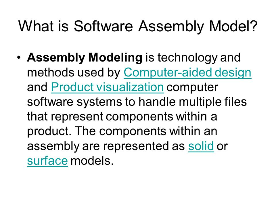 What is Software Assembly Model