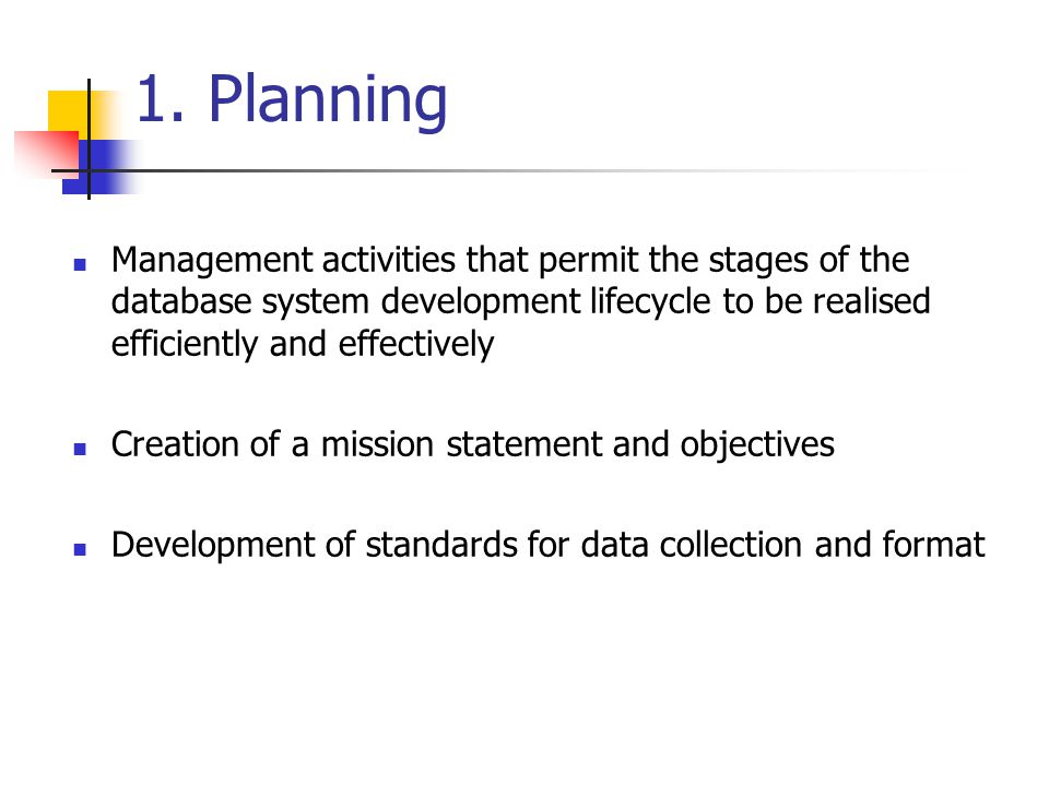 1. Planning Management activities that permit the stages of the database system development lifecycle to be realised efficiently and effectively.