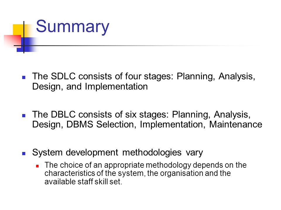 ZEIT2301 Design of IS Week 01: Intro. Summary. The SDLC consists of four stages: Planning, Analysis, Design, and Implementation.