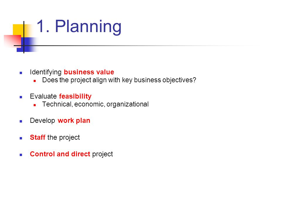 1. Planning Identifying business value Evaluate feasibility