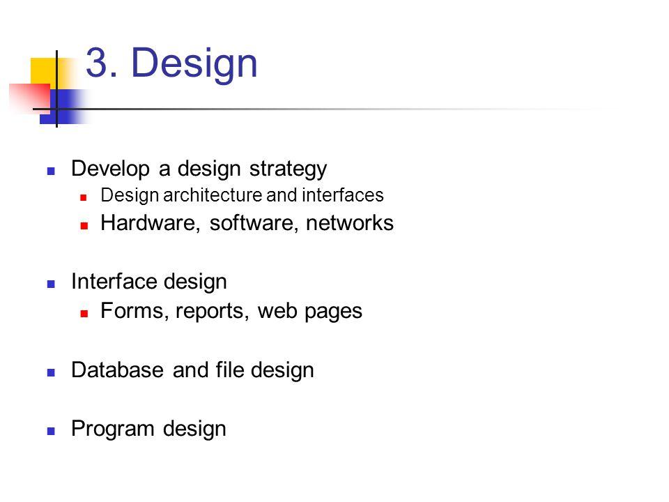 3. Design Develop a design strategy Hardware, software, networks