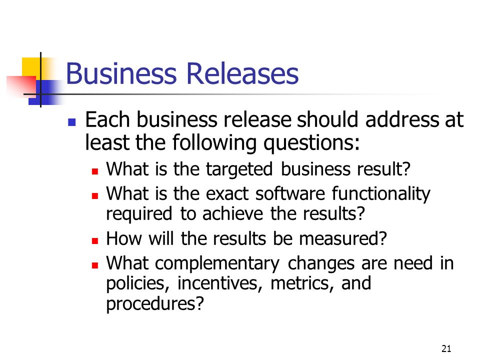 Business Releases Each business release should address at least the following questions: What is the targeted business result