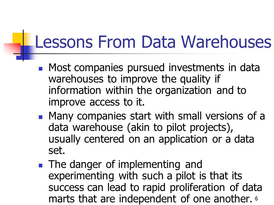 Lessons From Data Warehouses