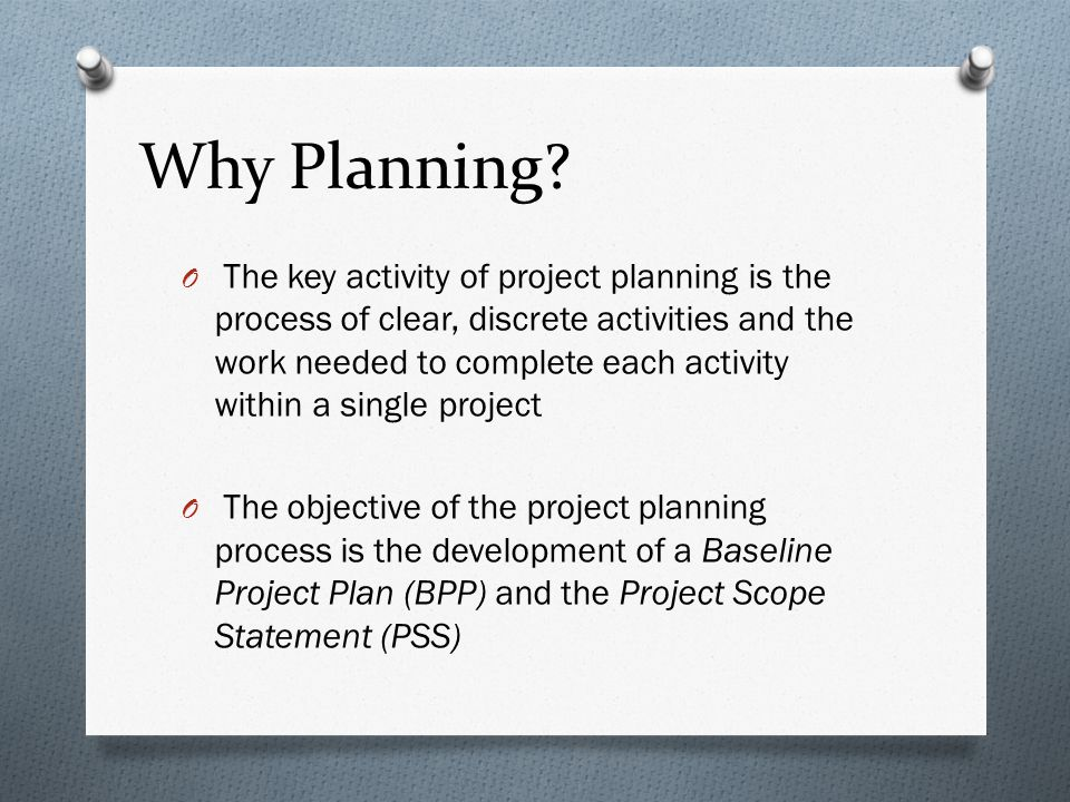 Why Planning