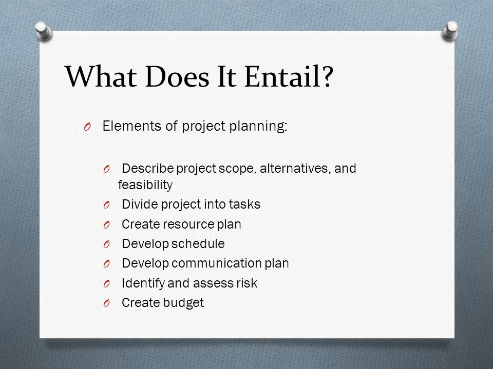 What Does It Entail Elements of project planning: