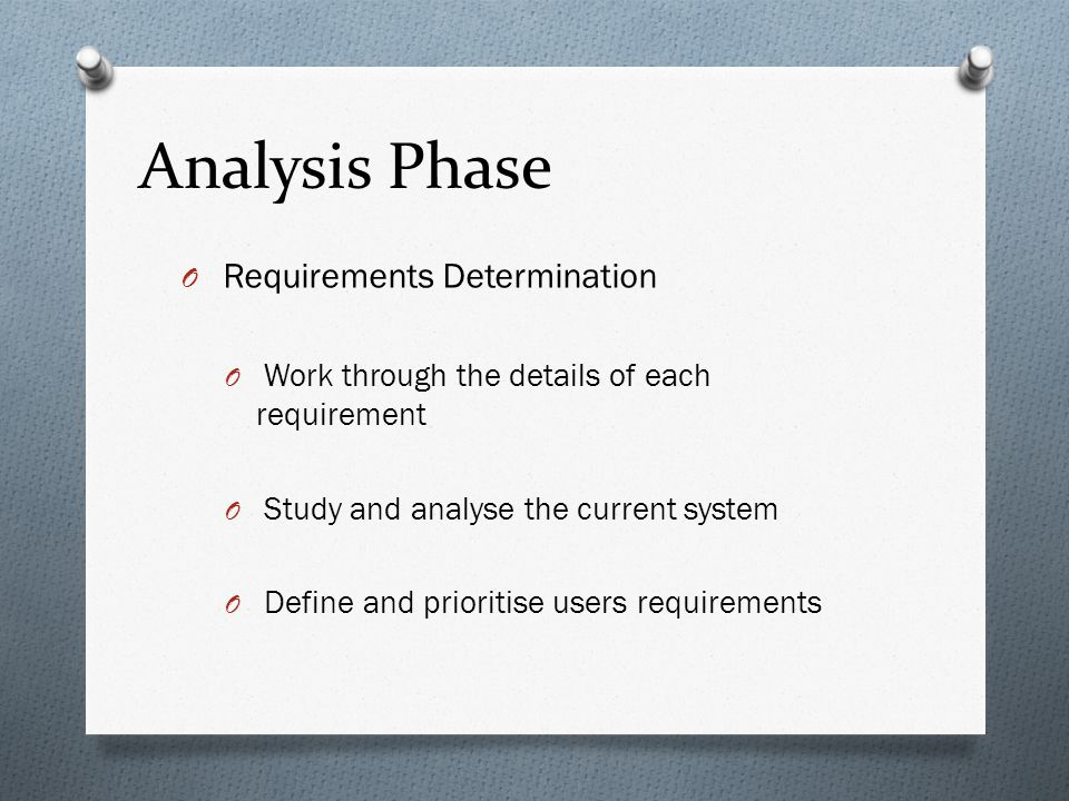 Analysis Phase Requirements Determination