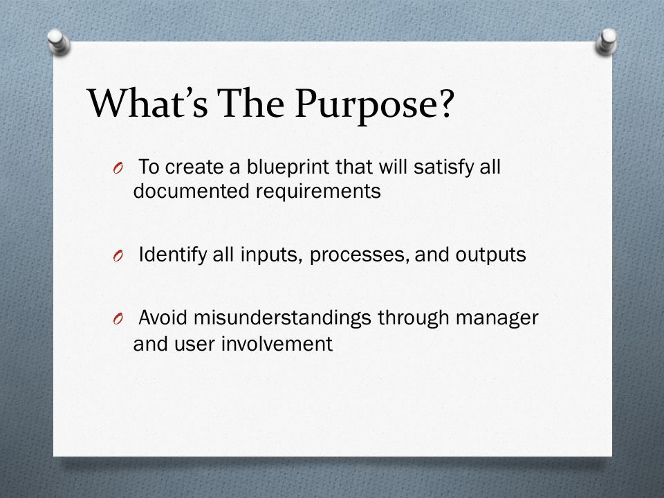 What's The Purpose To create a blueprint that will satisfy all documented requirements. Identify all inputs, processes, and outputs.