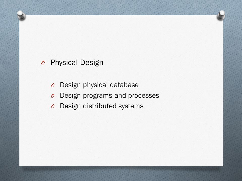 Physical Design Design physical database Design programs and processes