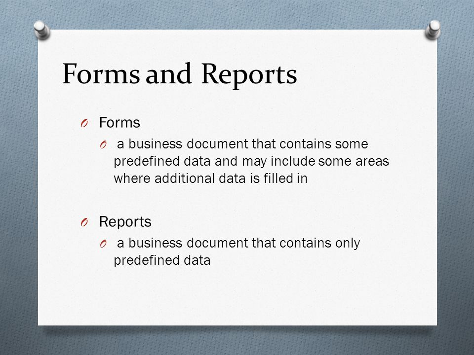 Forms and Reports Forms Reports