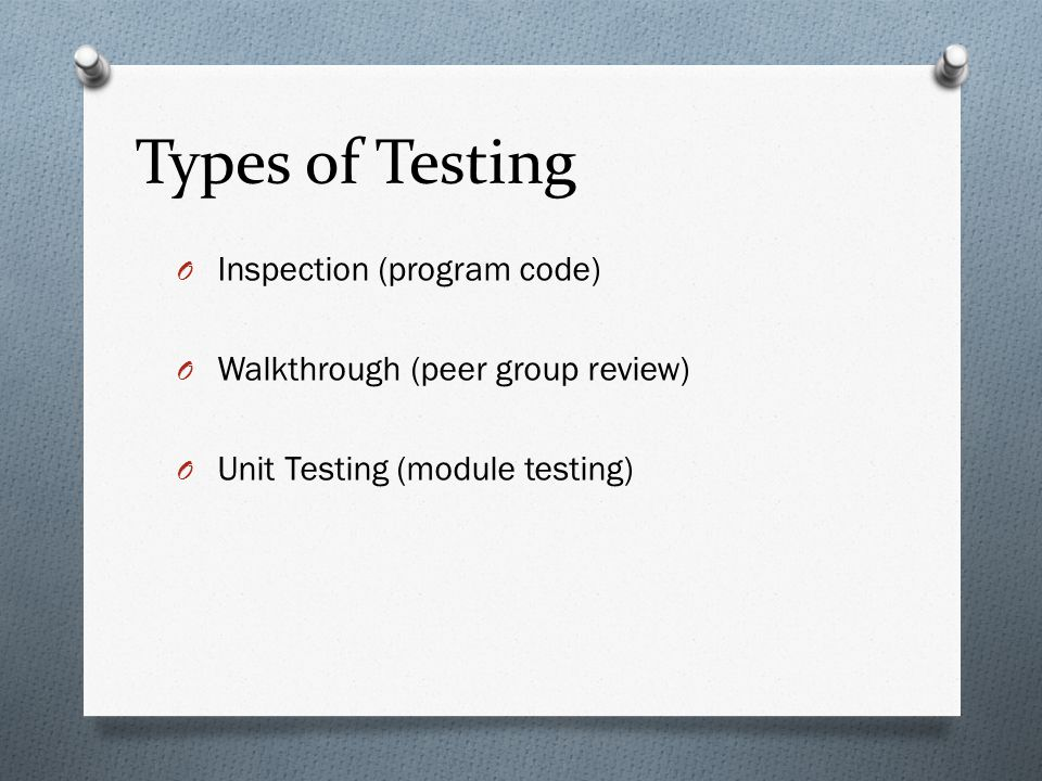 Types of Testing Inspection (program code)