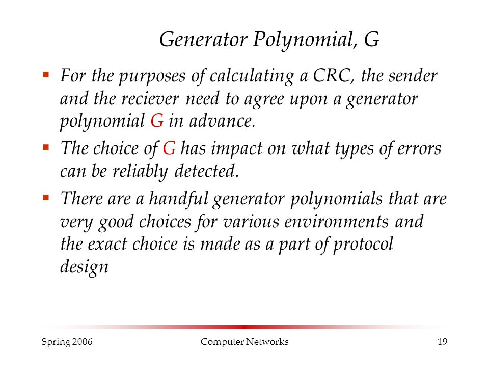 Generator Polynomial, G