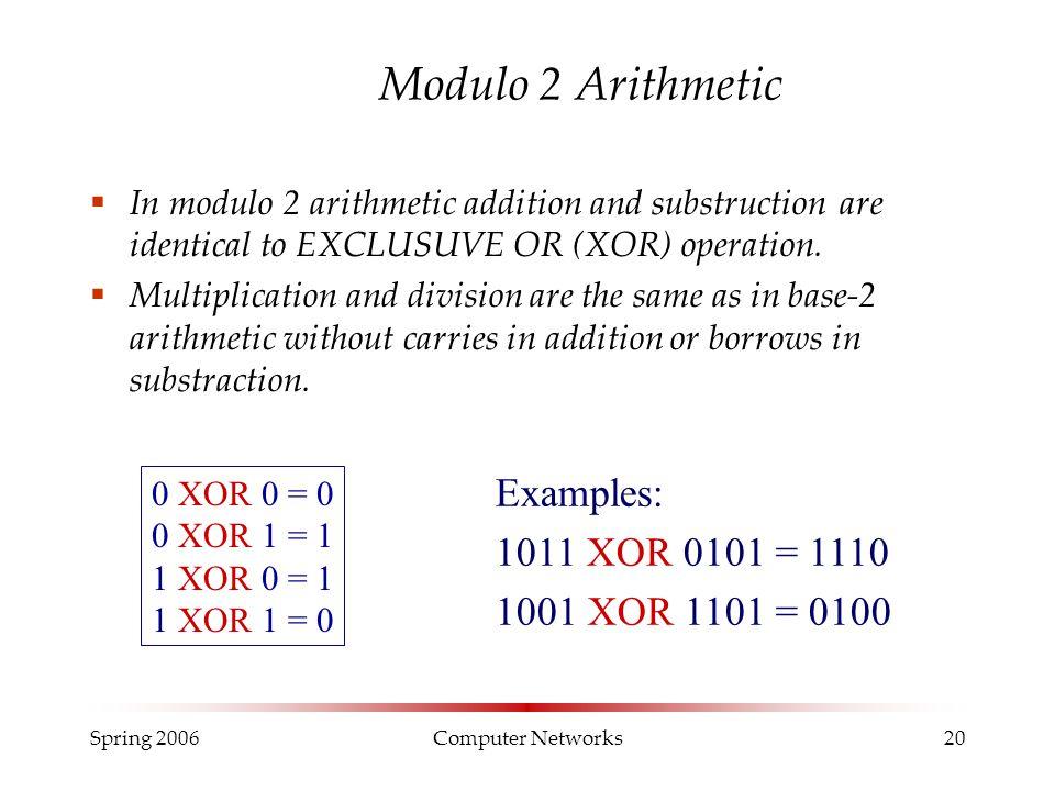 Modulo 2 Arithmetic Examples: 1011 XOR 0101 = 1110