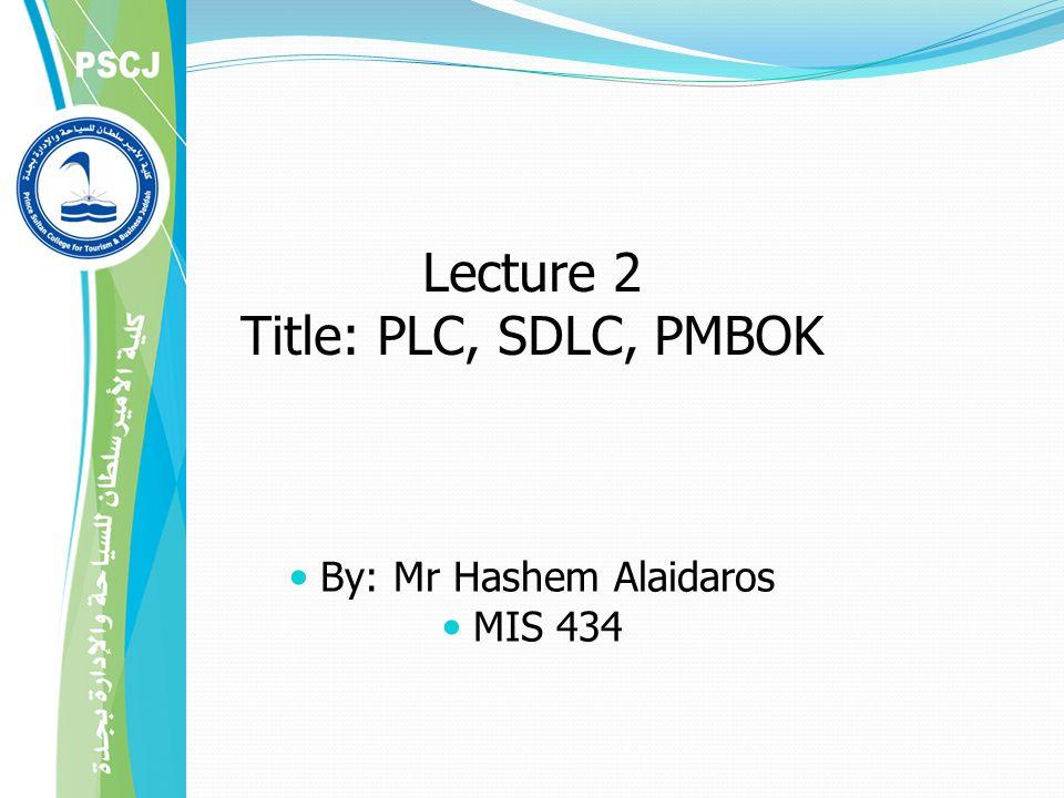 Lecture 2 Title: PLC, SDLC, PMBOK