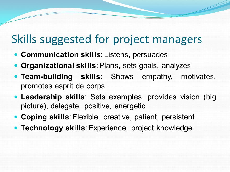 Skills suggested for project managers