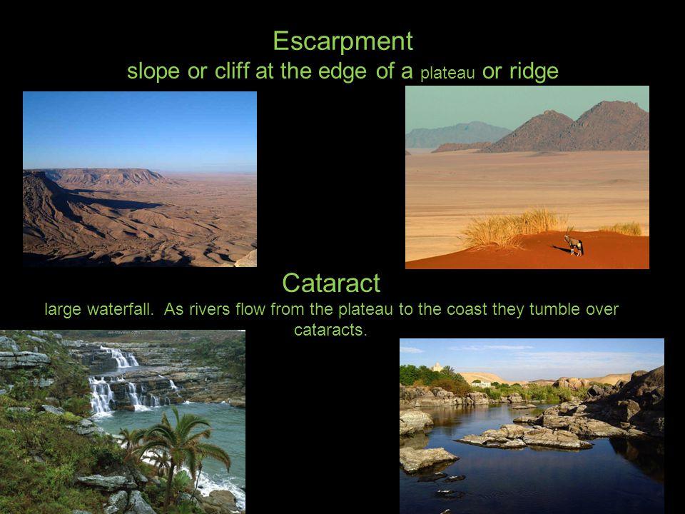 Escarpment slope or cliff at the edge of a plateau or ridge