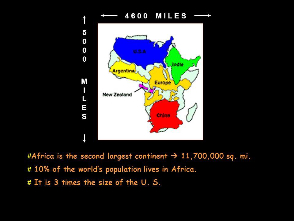 5 0 0 0 M I L E S. 4 6 0 0 M I L E S. Africa is the second largest continent  11,700,000 sq. mi.