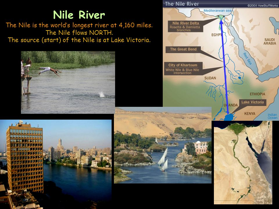 Nile River The Nile is the world's longest river at 4,160 miles.