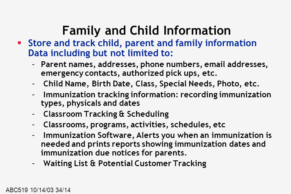 Family and Child Information