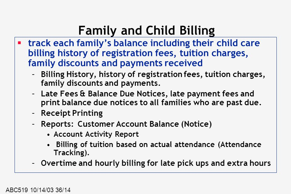 Family and Child Billing