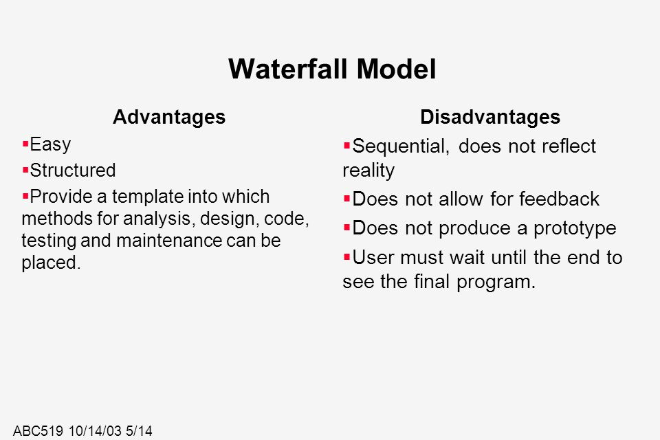 Waterfall Model Advantages Disadvantages