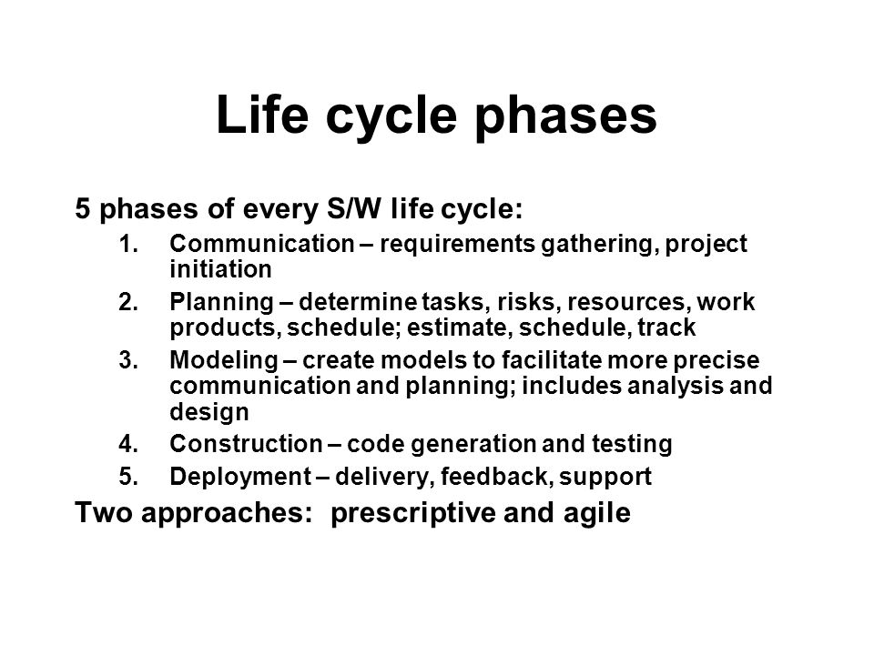 Life cycle phases 5 phases of every S/W life cycle: