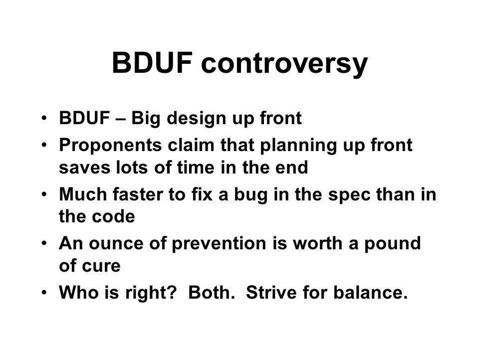 BDUF controversy BDUF – Big design up front