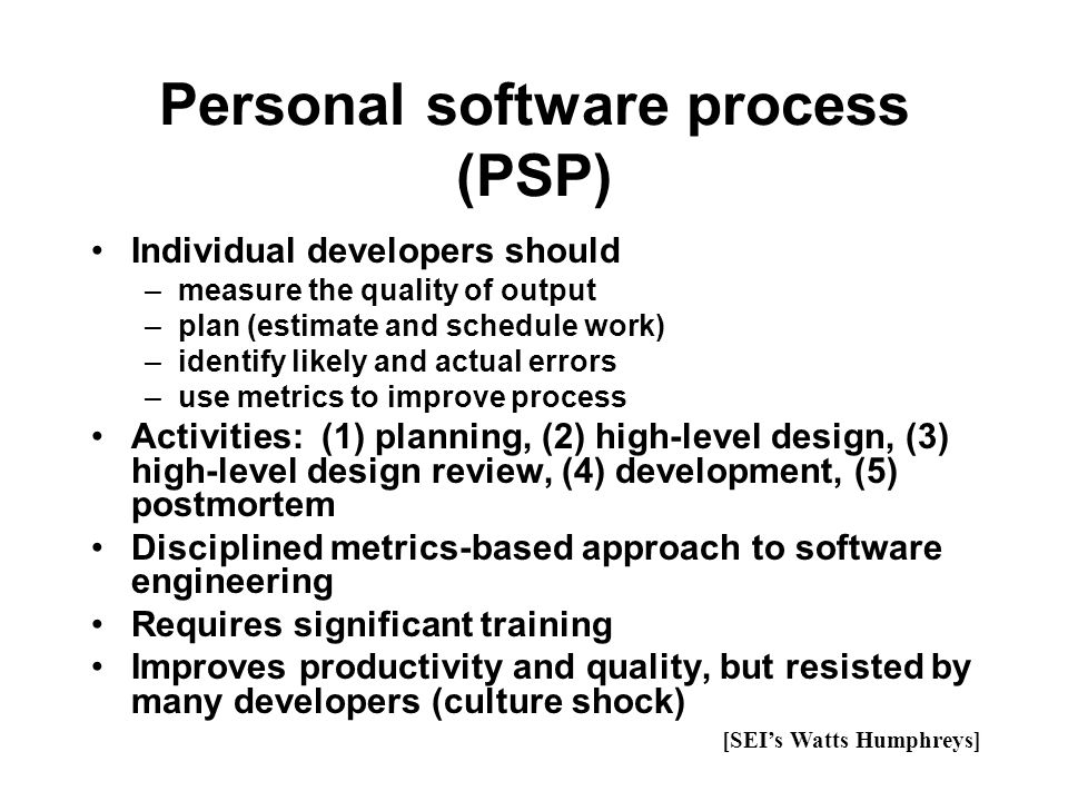 Personal software process (PSP)