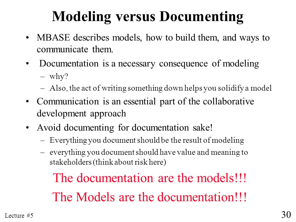 Modeling versus Documenting