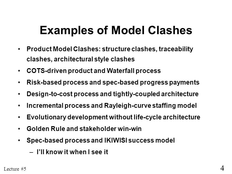 Examples of Model Clashes
