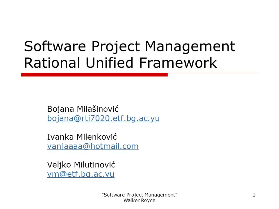 Software Project Management Rational Unified Framework