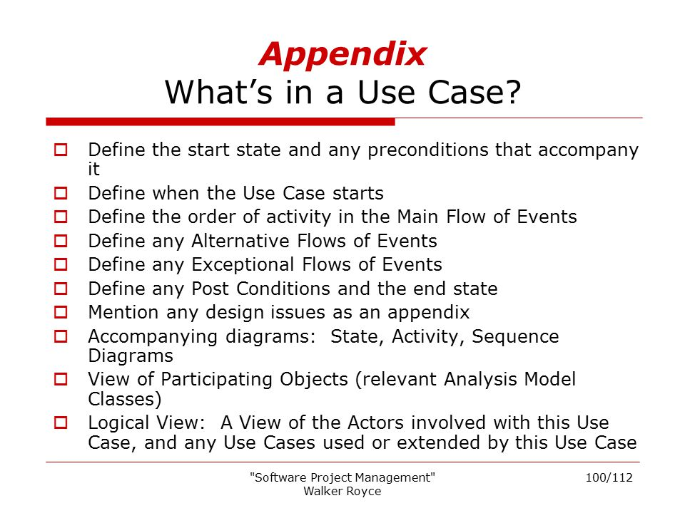 Appendix What's in a Use Case