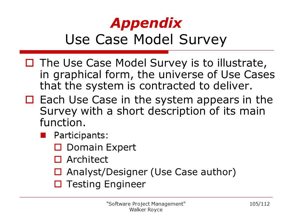 Appendix Use Case Model Survey